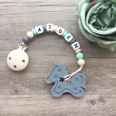 Personalized Pony Teether (Grey)