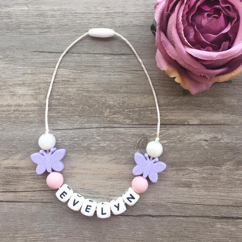 Kids Butterfly Personalized Necklace (Lilac)