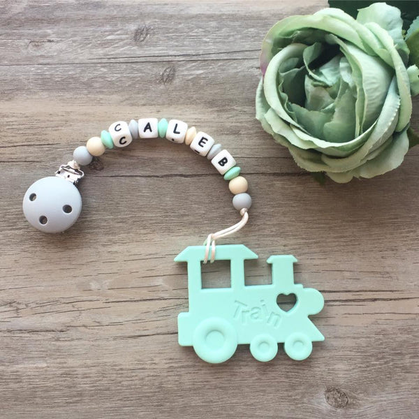 Personalized Train Teether (Mint)