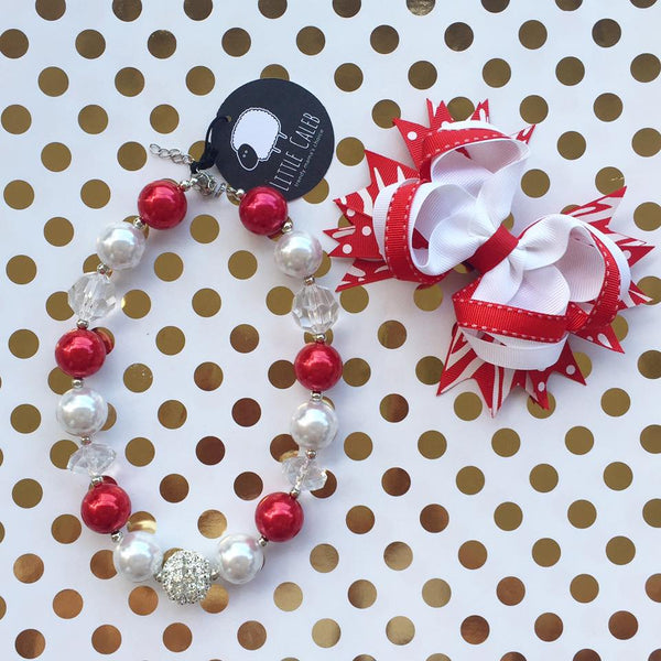 Christmas Bubblegum Necklace Bow Clip Set (White)