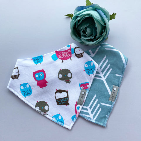 Owl & Stormy Arrow Bib Set