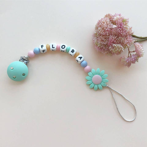 Personalized Daisy Pacifier Clip(Mint)
