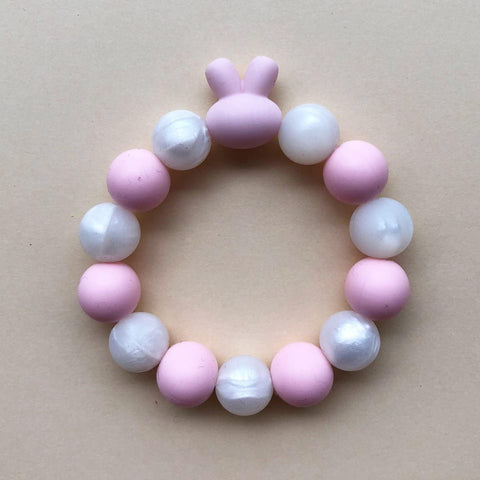 KIDS TEETHING BRACELET - BUNNY (PINK)
