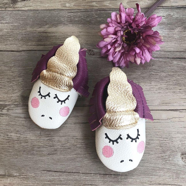 Baby Unicorn Leather Moccasins(Purple)