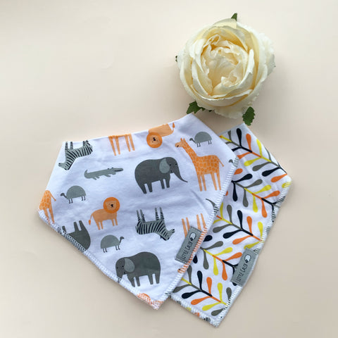 Jungle Animals & Colorful Arrows Bib Set