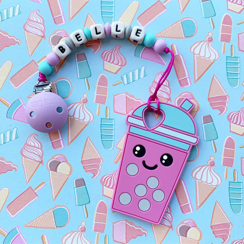 Personalized Bubble Tea Teether (Purple)