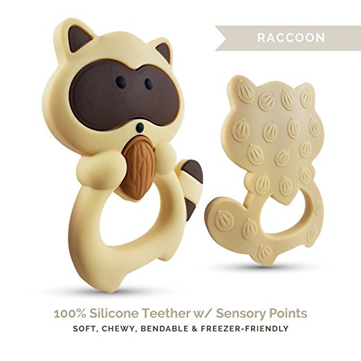 Personalized Raccoon Teether (Brown)