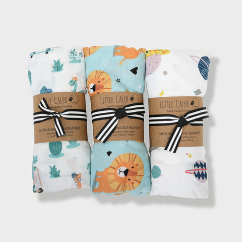 Set of 3 Muslin Swaddle Gift Set - Blue (Value HKD 540)