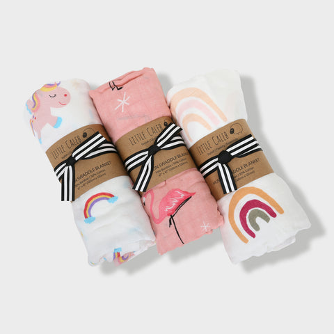 Set of 3 Muslin Swaddle Gift Set - Pink (Value HKD 540)