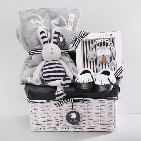 Deluxe Personalized Blanket & Teether Hamper - Cool (Original Value HK$1,588)