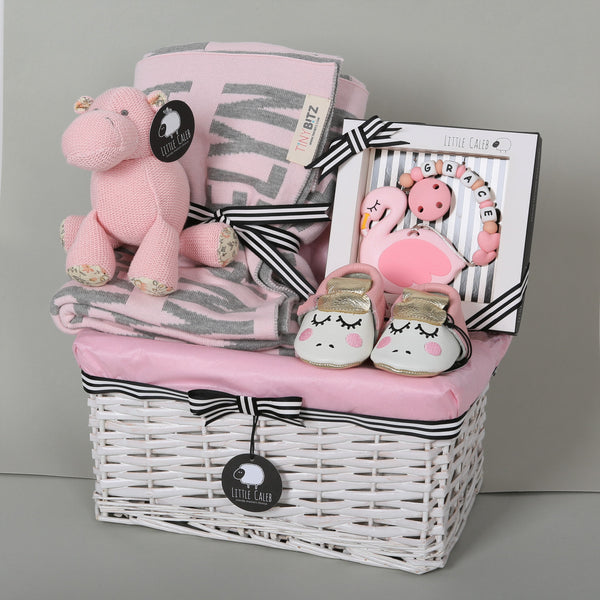 Personalized Blanket & Teether Hamper - Blossom (25-30 days)