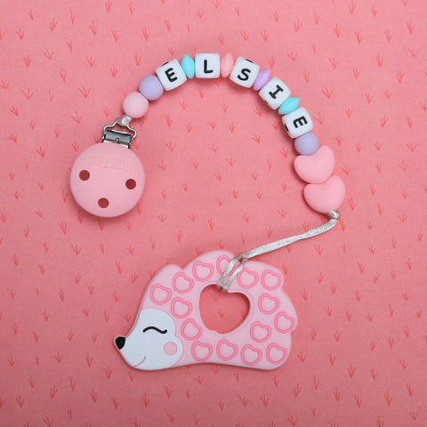 Personalized Hedgehog Teether (Pink)
