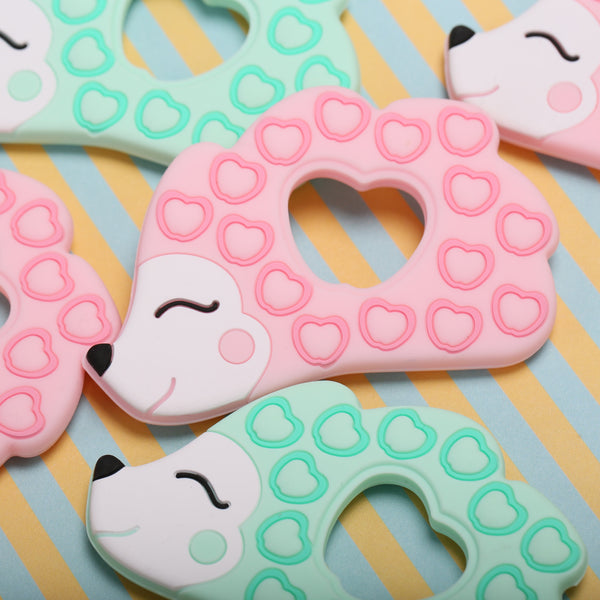 Personalized Hedgehog Teether (Mint)