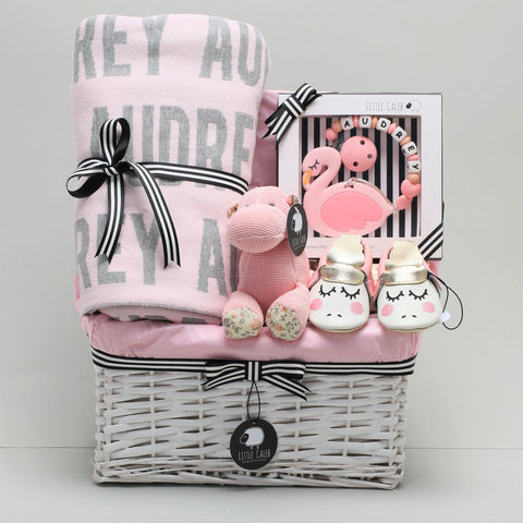 Premium Personalized Blanket & Teether Hamper - Blossom