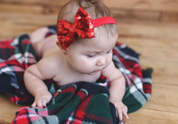 Sequin Bow Headband (Red)