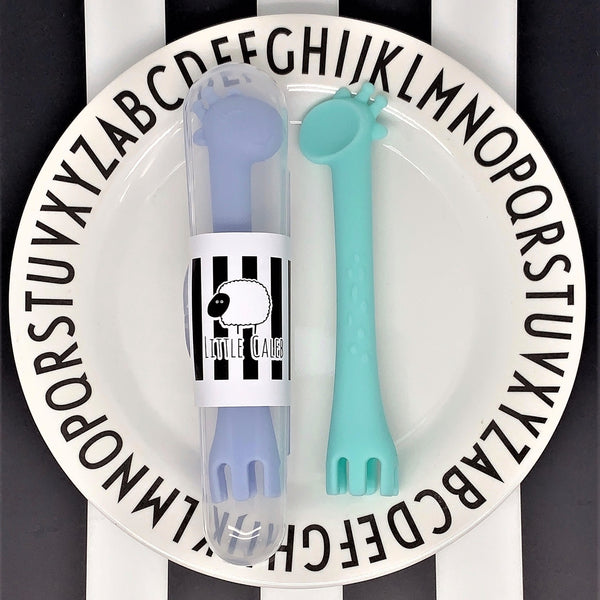 Giraffe Spoon & Fork Utensil with Travel Case Set (Blue&Mint)