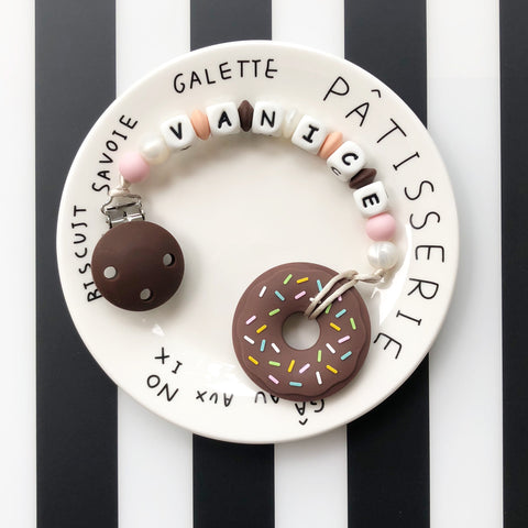 Personalized Donut Teether (Chocolate)