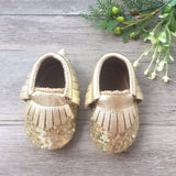 Sequin Gold Leather Moccasins