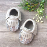 Sequin Silver Leather Moccasins