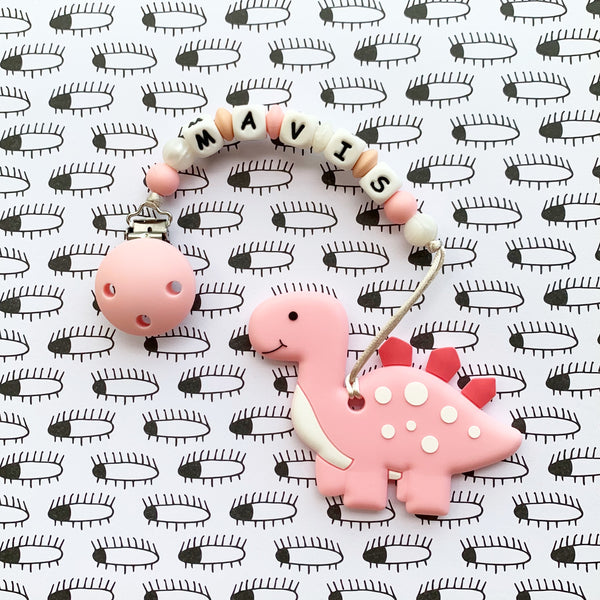 Personalized Cute Dinosaur Teether(PINK)