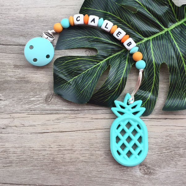 Personalized Pineapple Teether (Turquoise)