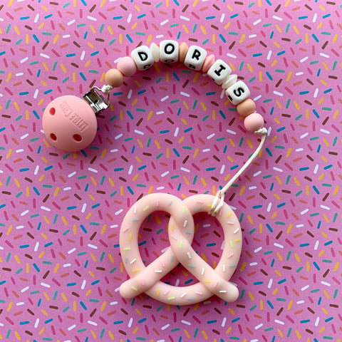 Personalized Pretzel Teether(PINK)