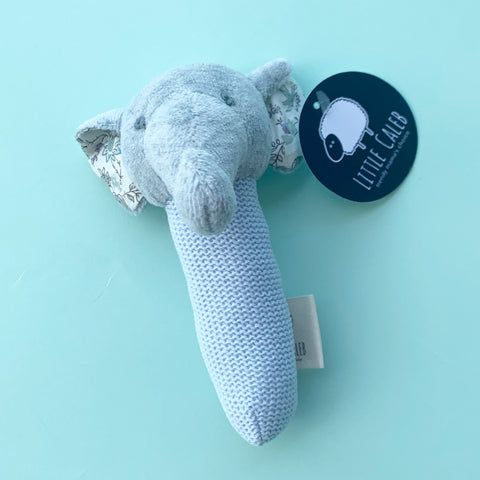 ORGANIC STICK RATTLE - ELEPHANT