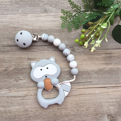 Raccoon Teether (Grey)