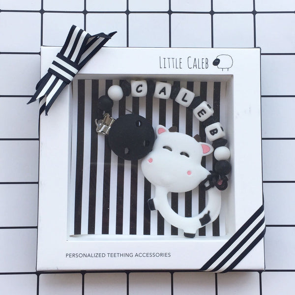 Personalized Silly Cow Teether (White)