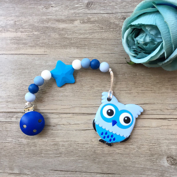Cute Owl Teether (Blue)