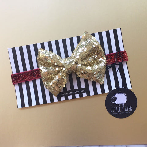 Sequin Bow Headband (Gold)
