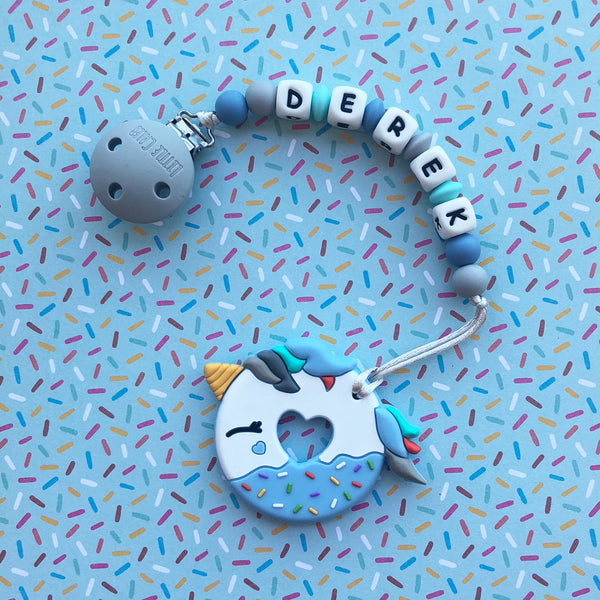 Personalized Unicorn Donut Teether(BLUE)