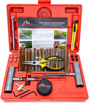 Boulder Tools Heavy Duty Tire Repair Kit for Tubeless Tires on Cars, Trucks, Trailers, Motorcycles, ATVs, RVs, Tractors