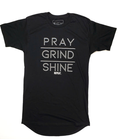 Pray Grind Shine Long Body Tee