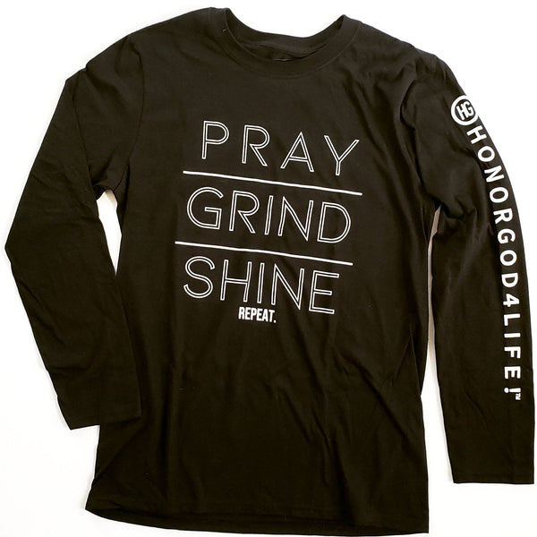 PRAY GRIND SHINE Long Sleeve Black