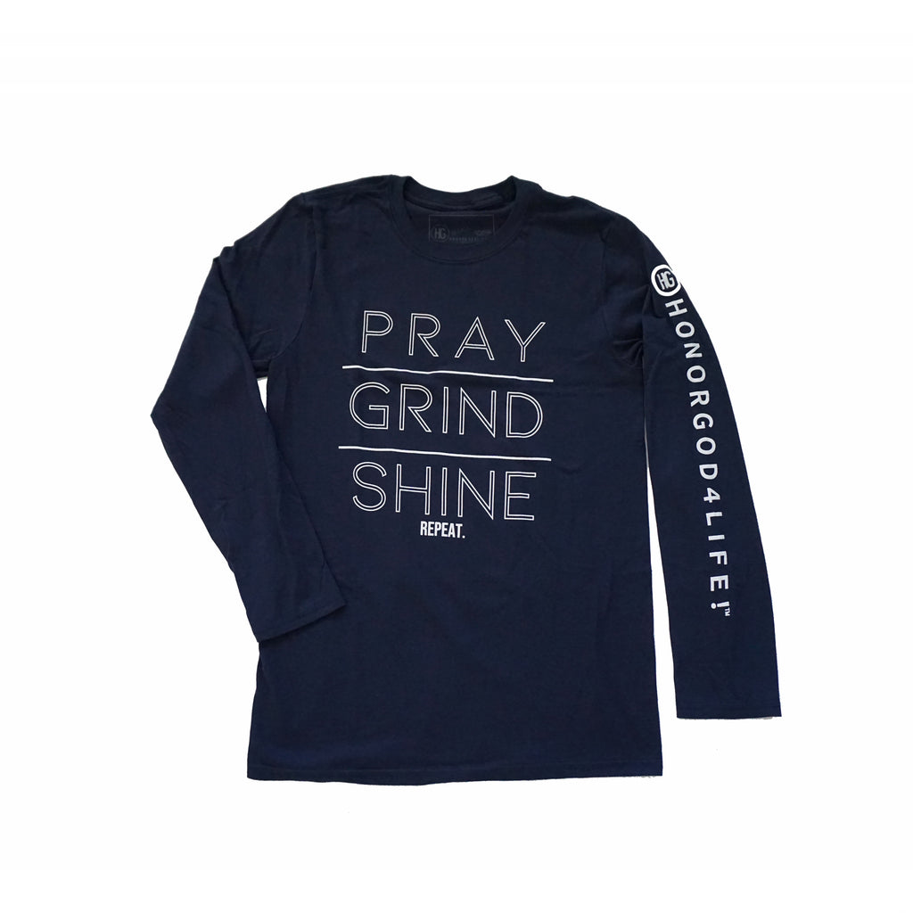 PRAY GRIND SHINE Long Sleeve Blue