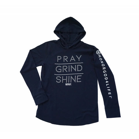 PRAY GRIND SHINE Thermal Hoodie