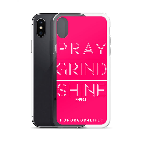PRAY GRIND SHINE iPhone Case Pink Edition