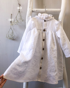 Ruffle Neck Linen Dress