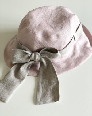 Kids Linen Sun Hat with Back Tie Bow