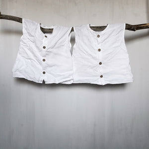 Kids Sleeveless Linen Button Down Top