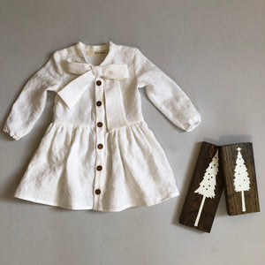 Girls Linen Shirt Dress with Bow Tie Neck