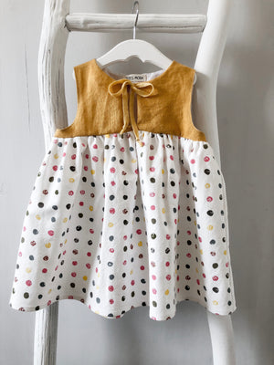 Mustard Polka Dot Dress - 2T - ready to ship