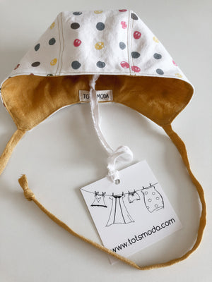 Reversible Baby Bonnet - 3-6 months - ready to ship