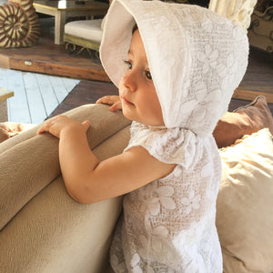 White Cotton Sunbonnet