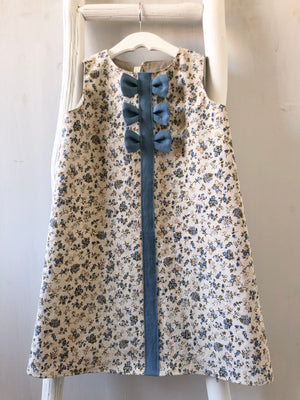 Blue Floral Party Dress - 5T - ready to ship