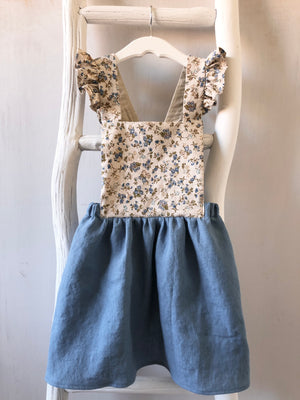Blue Floral Pinafore - 4T - ready to ship