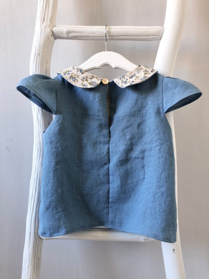 Blue Floral Peter Pan Collar Top - 3T - ready to ship