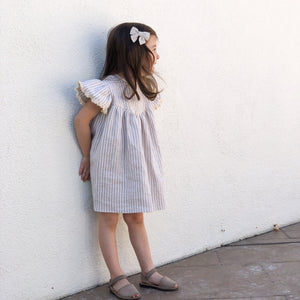Girls Back Button Linen Dress