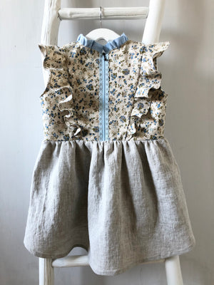Ruffle Neck High Low Floral Dress - 5T - ready to ship